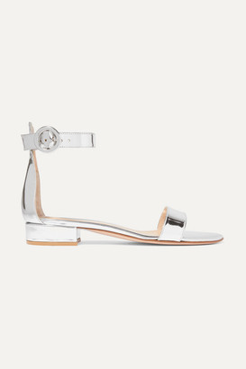 Gianvito Rossi Versilia 20 Metallic Leather Sandals - Silver