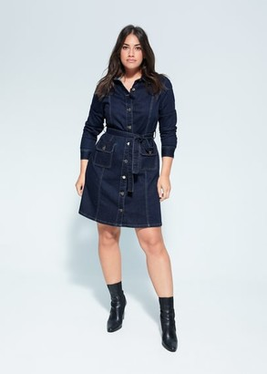 MANGO Violeta BY Belt denim dress dark blue - 10 - Plus sizes