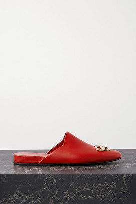 Balenciaga Cosy Bb Logo-embellished Leather Slippers - Red