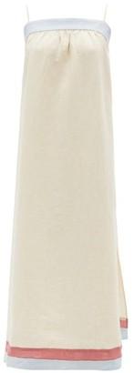 BEIGE Casa Raki - Vicky Tie-back Organic-linen Midi Dress - Womens Multi