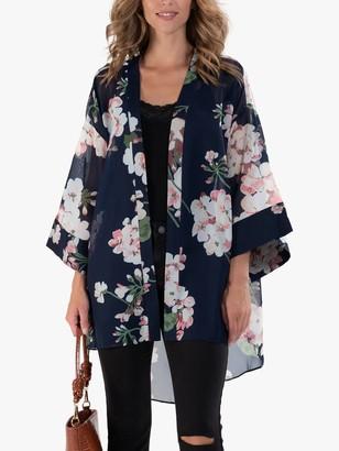 Jolie Moi Floral Print Chiffon Kimono Jacket, Navy