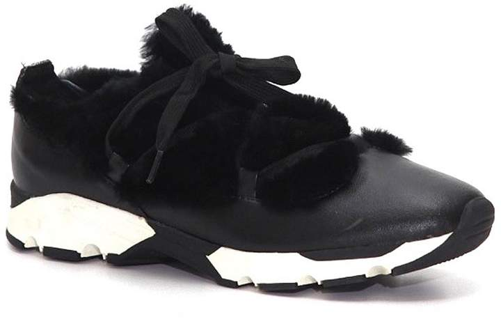 All Black Furry Leather Sneaker