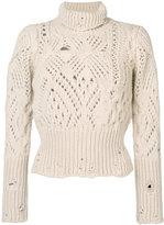 Dondup holey knit roll neck jumper