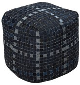 "Surya Navy Mosaic Cube Pouf 18""x18""x18 ;"