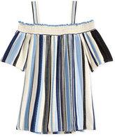 Monteau Off-The-Shoulder Stripe Shirt, Big Girls (7-16)