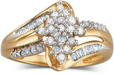 JCPenney FINE JEWELRY Diamond Cluster Ring 1/3 CT. T.W. 10K Gold