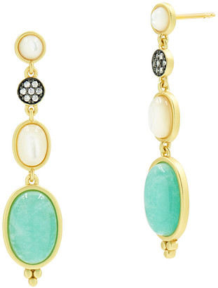 Freida Rothman Touch of Turquoise Amazonite & Mother-of-Pearl Drop Earrings