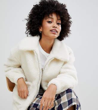 New Look teddy borg coat in white