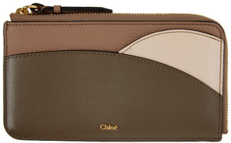 Chloé Pink and Brown Walden Zip-Around Card Holder