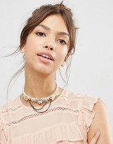 Asos Vintage Faux Pearl Choker Necklace