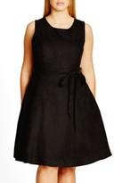 City Chic Plus Size Women's Faux Suede Fit & Flare Dress