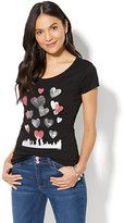 New York & Co. Lounge - Hearts & Skyline Graphic Logo T-Shirt - Black