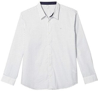 Calvin Klein Long Sleeve Poplin Wrinkle Resistant Casual Button-Up Shirt (Brilliant White) Men's Clothing