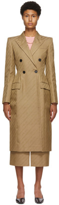 Givenchy Beige Jacquard Chain Logo Tailored Coat