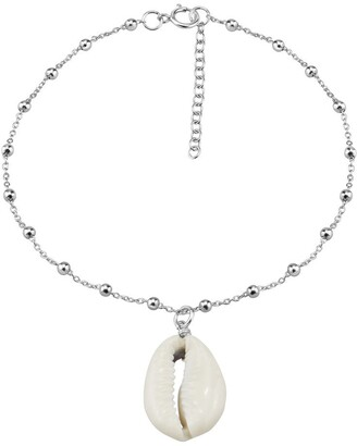 Aeravida Handmade Ocean Charm White Coffee Bean Seashell on a Sterling Silver Cable Chain Anklet