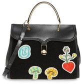 Olympia Le-Tan Beaded Patches Satchel - Black