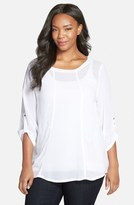 XCVI Roll Sleeve Crepe Georgette Blouse (Plus Size)