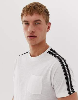 Burton Menswear t-shirt with taped sleeves in white