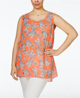 ING Trendy Plus Size Floral-Print Woven Top