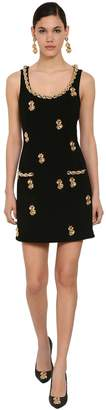 Moschino Embellished Crepe De Chine Mini Dress