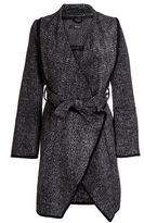 Quiz Grey Knit Waterfall Tie Belt Coat