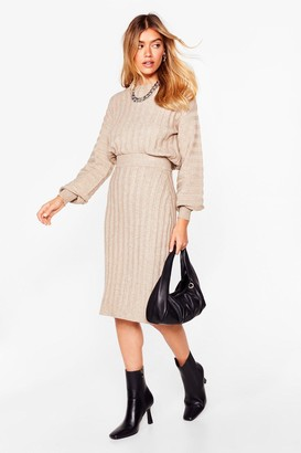 Nasty Gal Womens Tell Me About Knit Sweater and Midi Skirt Set - Taupe