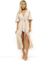Reverse Down the Road Romper in Beige
