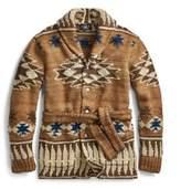 Ralph Lauren Hand-Knit Belted Cardigan Brown Indigo Xs