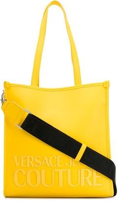 Versace Rubber Logo Contrast Strap Tote Bag