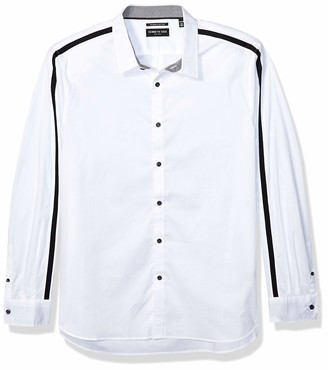 Kenneth Cole Men's Long Sleeve Crew Neck Arm Stripe Shirt