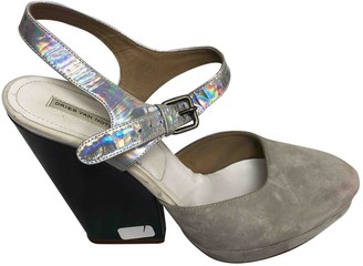 Dries Van Noten Grey Suede Sandals