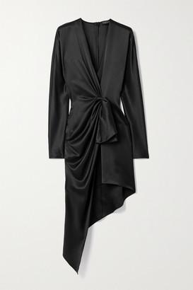 Cushnie Asymmetric Twist-front Silk-satin Dress - Black