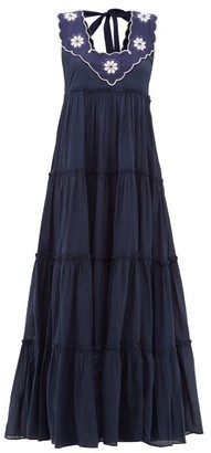 Innika Choo Che Pas Floral-embroidered Tiered Cotton Dress - Womens - Navy