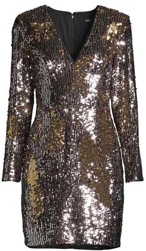 Aidan Mattox Long-Sleeve Sequin Cocktail Dress