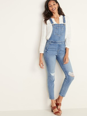 Old Navy Distressed Jean Side-Zip Overalls for Women