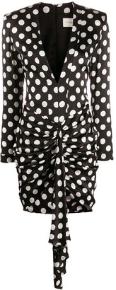 Giuseppe di Morabito Polka Dot Plunge Mini Dress