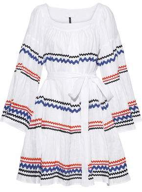 Lisa Marie Fernandez Belted Rick Rack-trimmed Linen Dress