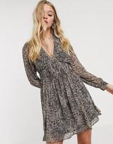 AllSaints kiana leopard patch mini dress