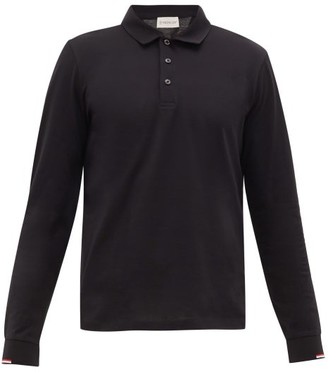 Moncler Tricolour-cuffs Cotton-jersey Polo Shirt - Black