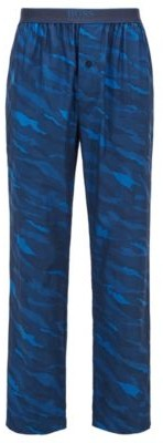 BOSS Button-fly pyjama trousers in abstract-animal patterned cotton