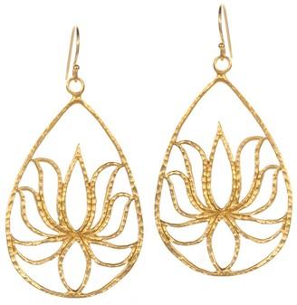 Satya Gold Teardrop Lotus Earrings, Goldtone Brass