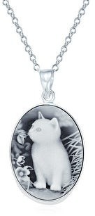 Overstock Vintage Style Kitten Pet Cat Cameo Necklace Pendant Sterling Silver - 16