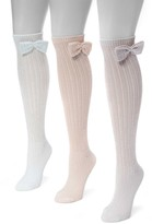 Muk Luks Pointelle Bow Knee High Sock - Pack of 3