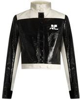 Courreges Contrast-panel patent faux-leather jacket