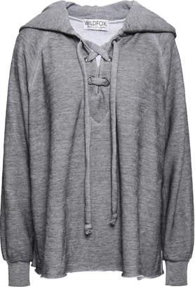 Wildfox Couture Lace-up Melange Cotton-blend Fleece Hooded Sweatshirt
