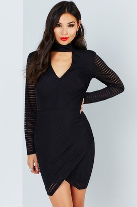 Girls On Film Black Burnout Stripe Dress With Keyhole