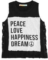 Vintage Havana Girls' Peace Love Side Lace-Up Tank