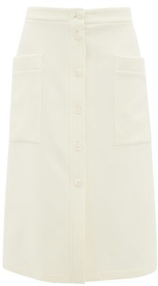 Raey Button-through A-line Wool-blend Midi Skirt - Ivory