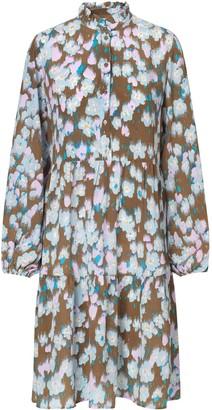 Levete Room - Gina silk dress in cloud print - xs | silk | brown | Pink - Brown/Brown