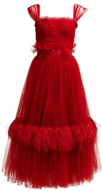 Dolce & Gabbana Ruffle Trimmed Tulle & Feather Gown - Womens - Red
